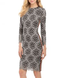 Lace Two-Tone Dress with Ribbon Stripe by Nicole Miller at Last Call