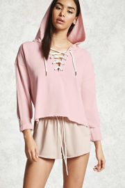 Lace-Up Cropped Hoodie   Forever 21 - 2000285626 at Forever 21