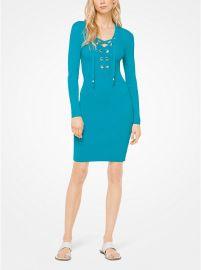 Lace Up Ribbed Dress at Michael Kors