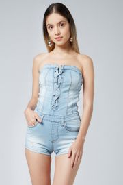 Lace Up Tube Top Light Denim Romper at edgeLook