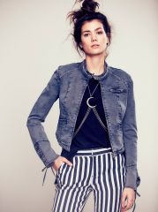 Lace Up Twill Jacket at Free People
