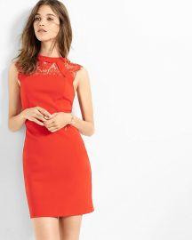 Lace Yoke Sheath Dress at Express