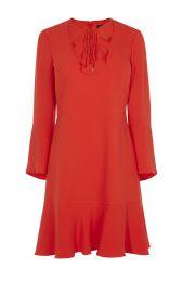 Lace and Frill Neckline Dress at Karen Millen
