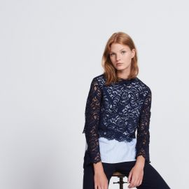 Lace and Printed Striped Top by Sandro at Sandro