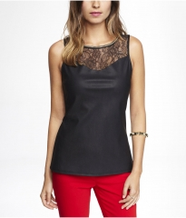Lace and leather yoke top at Express
