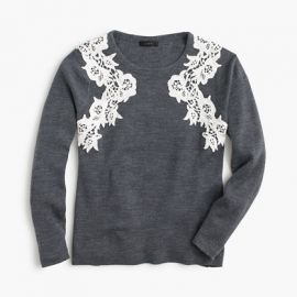 Lace appliquandeacute sweater in Grey at J. Crew