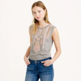 Lace appliquandeacute tank top at J. Crew