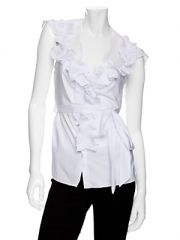Lace back ruffle blouse at Last Call