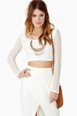 Lace crochet crop top at Nasty Gal