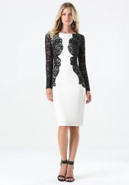 Lace detail ponte dress at Bebe