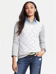 Lace front sweater at Banana Republic