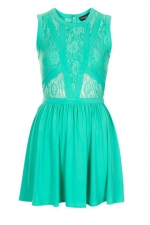 Lace panel skater dress in Mint at Topshop