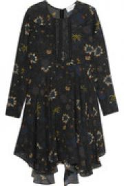 Lace-paneled printed silk-crepe mini dress at The Outnet