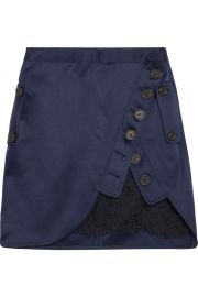 Lace-paneled wrap-effect satin mini skirt at Net A Porter