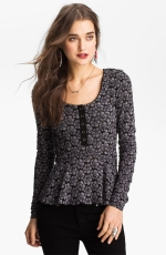 Lace peplum henley by Free People at Nordstrom