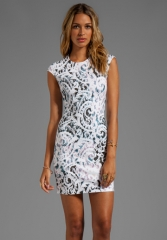 Lace print dress by Alexander McQueen at Revolve
