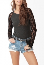 Lace sleeves top at Forever 21