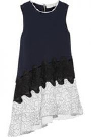 Lace-trimmed cutout printed crepe top at The Outnet