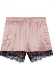 Lace-trimmed silk-satin pajama shorts at The Outnet