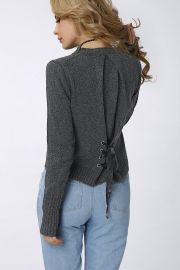 Lace-up Back Pullover Long Sleeve  at Yoins
