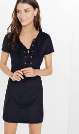 Lace up faux suede dress at Express