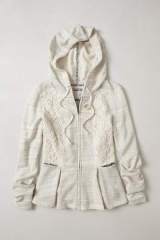 Laced peplum hoodie at Anthropologie