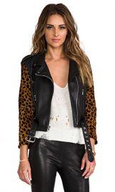 Laer Shrunken Leather Moto Jacket in Black  amp  Cheetah from Revolve com at Revolve