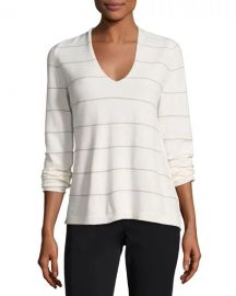 Lafayette 148 New York V-Neck Striped Cashmere Sweater  Cloud Multi at Neiman Marcus