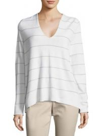 Lafayette 148 New York - Striped Cashmere V-Neck Pullover at Saks Fifth Avenue