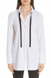 Lafayette 148 New York Annaleise Contrast Tie Stanford Stripe Blouse at Nordstrom