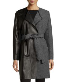 Lafayette 148 New York Leather Panel Belted Wool Coat at Last Call