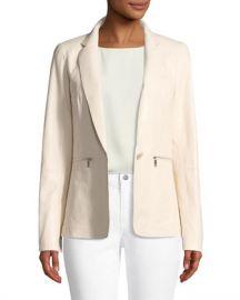 Lafayette 148 New York Lyndon Zip-Pocket Leather Jacket at Neiman Marcus