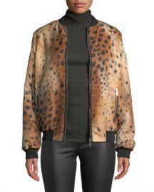 Lafayette 148 New York Melrose Zip-Front Leopard-Print Tech Cloth Bomber Jacket at Neiman Marcus