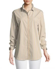 Lafayette 148 New York Sabira Saxony Striped Blouse at Neiman Marcus