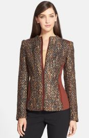 Lafayette 148 New York and39Yelenaand39 Faux Leather Trim Tweed Jacket at Nordstrom