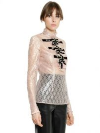 Laminated Lace Top W/Embellished Bows by Philosophy Di Lorenzo Serafini at Luisaviaroma