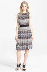 Land39AGENCE Print Pleated Satin Fit andamp Flare Dress at Nordstrom