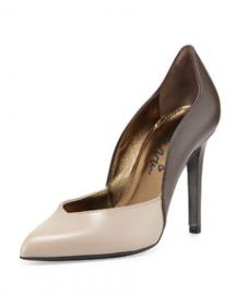 Lanvin Bicolor Wavy Leather Pump Gray at Neiman Marcus