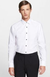 Lanvin Extra Trim Fit Glass Button Tuxedo Shirt at Nordstrom