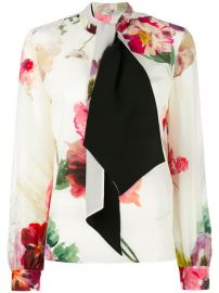 Lanvin Neck Tie Floral Blouse at Farfetch