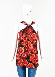 Lanvin Poppy Print Twist Neck Top at Luxury Garage Sale
