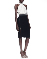 Lanvin Twist-Halter Colorblock Dress and Wide Grip-Strap Belt at Neiman Marcus