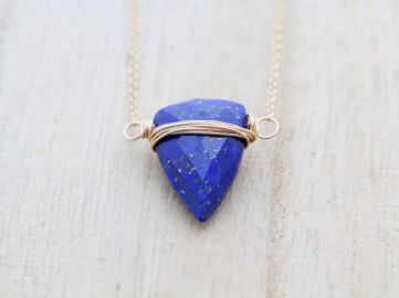 Lapis Lazuli Triangle Necklace at Etsy