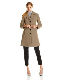 Larry Levine Womenand39s Classic Single-Breasted Notch-Collar Coat in camel at Amazon
