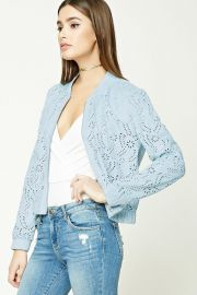 Laser Cutout Faux Suede Bomber Jacket at Forever 21