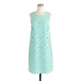Laser-cut floral shift dress in misty green at J. Crew