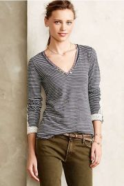 Lata Tee in Navy at Anthropologie