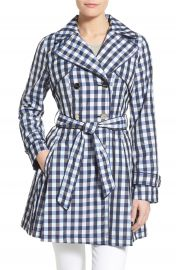 Laundry by Shelli Segal Gingham Print Double Breasted Trench Coat at Nordstrom