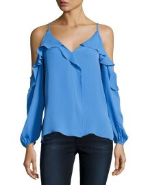 Laurell Ruffled Cold-Shoulder Silk Blouse at Neiman Marcus