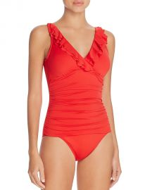 Lauren Ralph Lauren Beach Ruffled One Piece Swimsuit red at Bloomingdales
